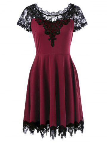 Fancy Lace Insert Party Skater Dress WINE RED XL