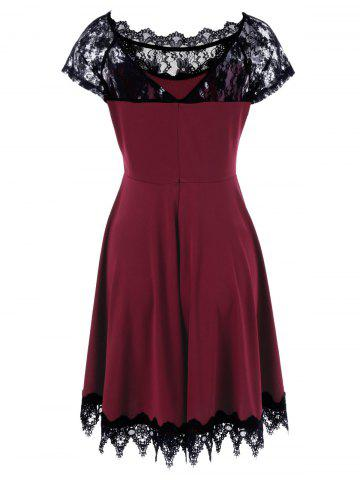 Cheap Lace Insert Party Skater Dress - 2XL WINE RED Mobile