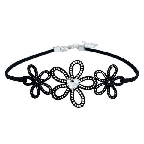 Heart Rhinestone Hollow Out Floral Choker Necklace - Black