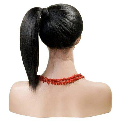 Store Long Centre Part Yaki Straight Lace Front Synthetic Wig - BLACK  Mobile