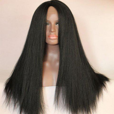 Shops Long Centre Part Yaki Straight Lace Front Synthetic Wig - BLACK  Mobile