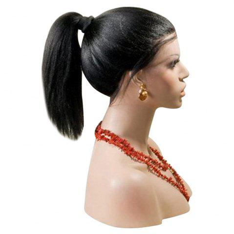 New Long Centre Part Yaki Straight Lace Front Synthetic Wig - BLACK  Mobile