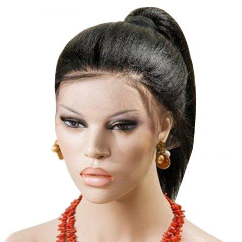 Affordable Long Centre Part Yaki Straight Lace Front Synthetic Wig - BLACK  Mobile