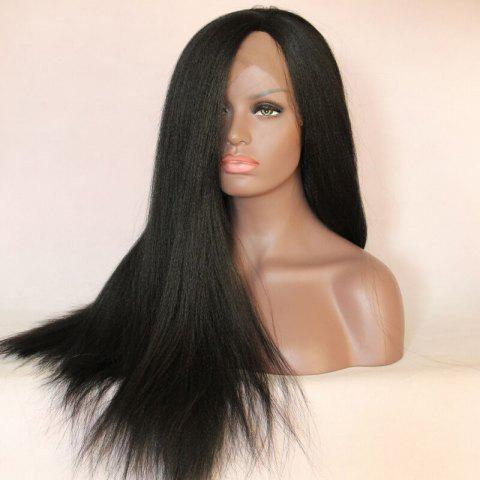 Sale Long Centre Part Yaki Straight Lace Front Synthetic Wig - BLACK  Mobile