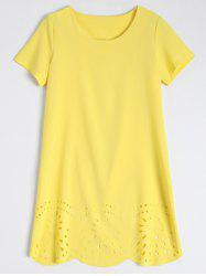 Hollow Out Scalloped Shift Casual Tunic Dress