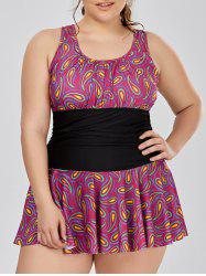 Plus Size Paisley Skirted One Piece Swimwear