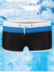 Color Block Drawstring Swimming Trunks - BLACK