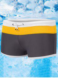 Color Block Drawstring Swimming Trunks