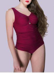Plus Size Embellished Ruched One Piece Swimsuit