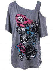 Skew Collar Rose Print Long Shirred T-Shirt - GRAY