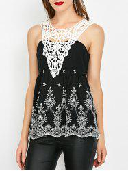 Crochet Trim Shirred Sleeveless Blouse -