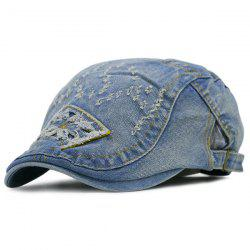 Frayed Letters Pattern Denim Flat Hat