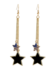 Double Pentagram American Flag Degsin Drop Earrings
