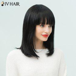 Siv Hair Long Straight Neat Bang Bob Human Hair Wig