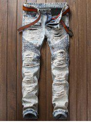 Paint Splatter Ripped Biker Jeans