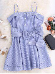 Spaghetti Strap Striped Mini Tunic Dress - BLUE