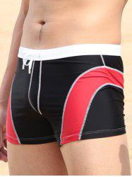 Drawstring Waist Panel Swimming Trunks
