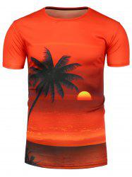 3D Beach Sunset Print Hawaiian T-Shirt