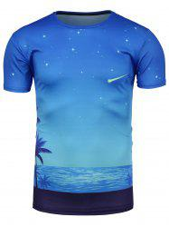 Starry Sky Beach Print Hawaiian Galaxy T-Shirt