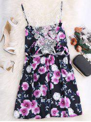 Lace Inset Floral Mini Racerback Dress