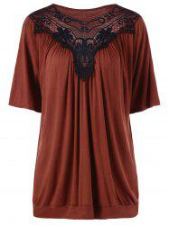 Plus Size Lace Panel Long T-Shirt