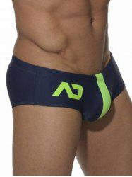 Two Tone Printed Swimming Briefs - CERULEAN