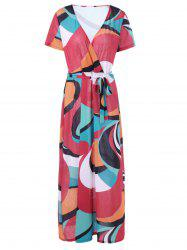 V Neck Plus Size Colorblock Belted Maxi Surplice Dress -