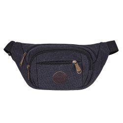Sports Multifunctional Canvas Waist Bag - BLACK