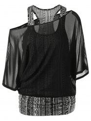 Skew Collar Racerback Sheer Blouse - BLACK M