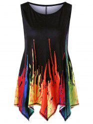 Paint Drip Asymmetrical Sleeveless T-Shirt - BLACK