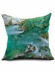 Stream Print Short Plush Square Pillow Case - LAKE GREEN