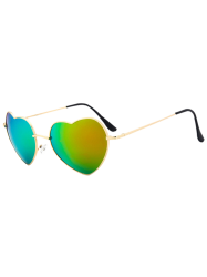 Vintage Heart Shape Mirror Sunglasses - GREEN