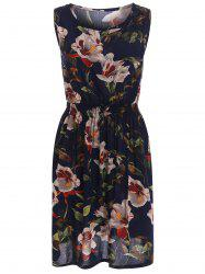 Stretch Waist Sundress with Floral Print - BLACK