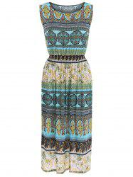 Sleeveless Bohemia Paisley Print Maxi Dress - COLORMIX