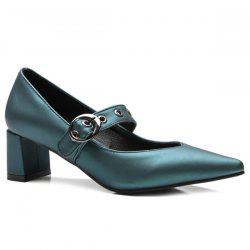 Block Heel Eyelets Pumps