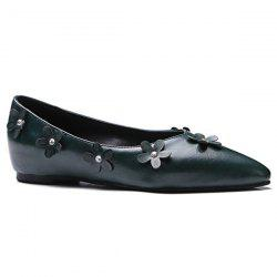 Faux Leather Appliques Flat Shoes
