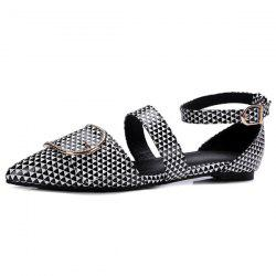 Buckle Strap Patent Leather Flat Shoes