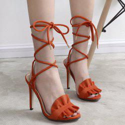 Ruffles Lace Up Gladiator Stiletto Sandals