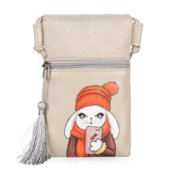 Tassel Cartoon Rabbit Print Crossbody Bag