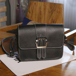Buckle Strap Cross Body Flap Bag - BLACK