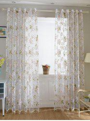 Floral Embroidery Sheer Tulle Curtain with Beads Pendant - PINK 100*250CM