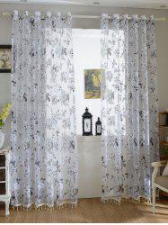 Floral Embroidery Sheer Tulle Curtain with Beads Pendant