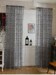 2 Panels Rattan Embroidery Sheer Screen Tulle Curtains