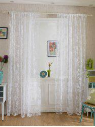 2Pcs/Set Rose Sheer Tulle Fabric Curtain For Bedroom - WHITE