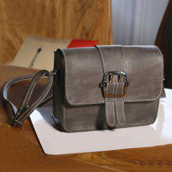 Buckle Strap Cross Body Flap Bag - GRAY