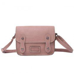 Stitching Faux Leather Cross Body Bag - PINKISH PURPLE