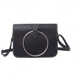 Metal Ring Flap Cross Body Bag - BLACK
