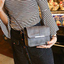 Metal Trimmed Cross Body Flap Bag - GRAY