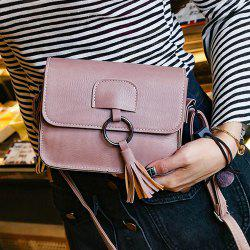 Metallic Ring Tassel Cross Body Bag - PINK