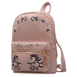 PU Leather Flower Embroidered Backpack - PINK